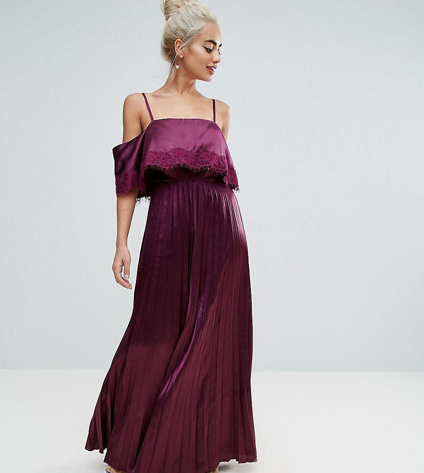 7b781b8ab49 ASOS PETITE Satin Pleated Cami Lace Trim Crop Top Maxi Dress - Red