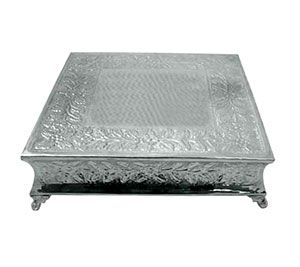 """Tabletop Classics AC-87716 Ornate Nickel Plated Square Cake Stand - 16"""" - I can't see how tall it is, but it looks on the shorter side"""