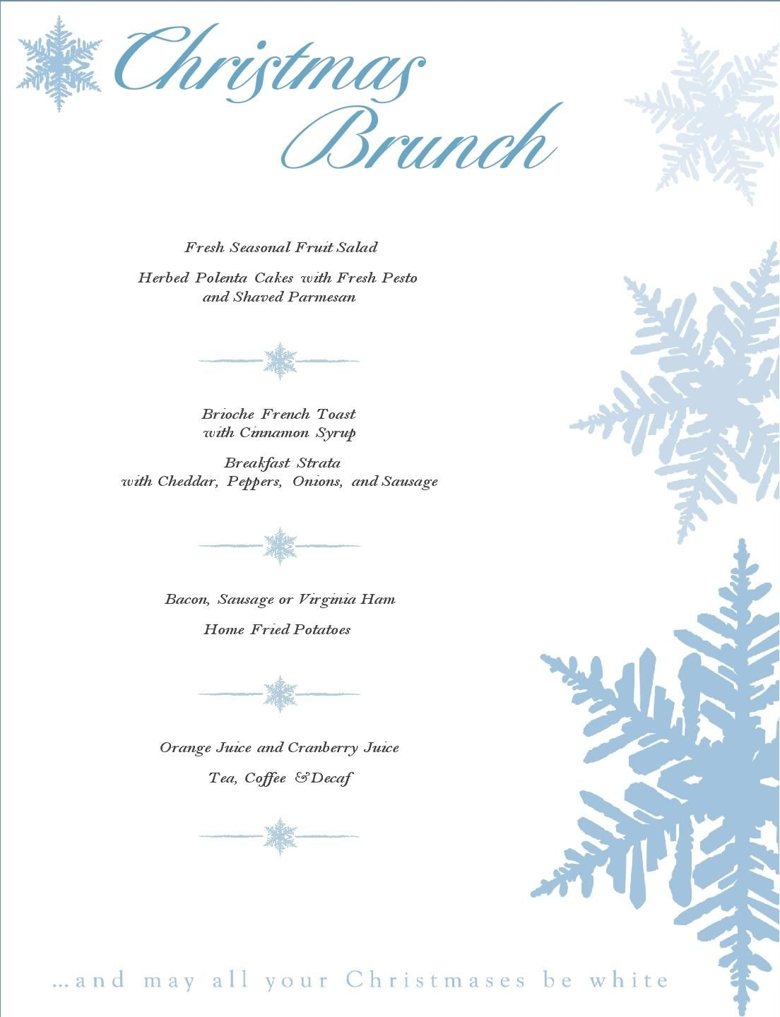 Christmas Brunch Menu -(can be edited). The kids love when we \