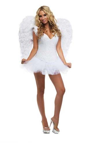 Anjo Branco Luxo Mulheres Halloween Roupas De Halloween