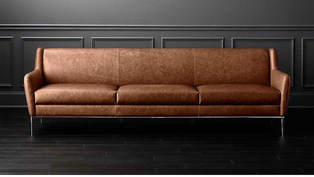 Alfred Extra Large Cognac Leather Sofa Reviews Cb2 Cognac