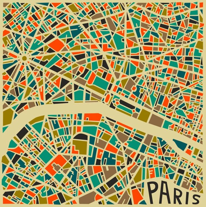 Bold Geometric Patterns Form Abstract City Maps City maps Paris