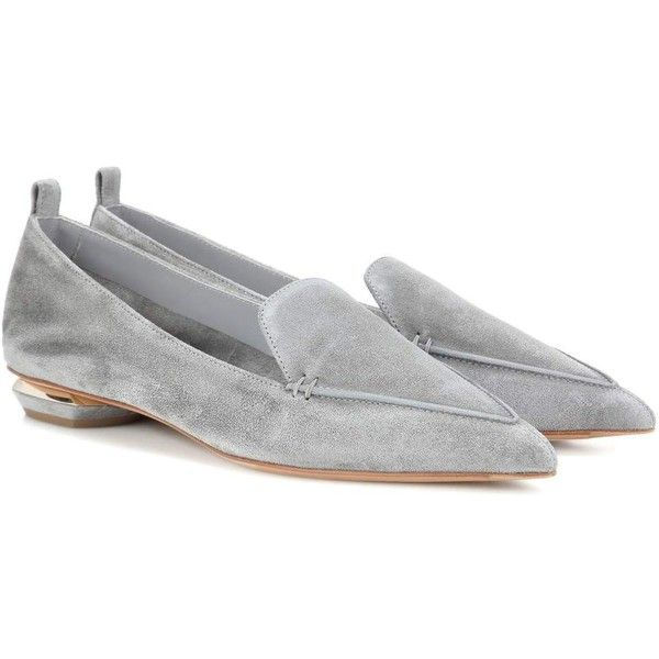 Nicholas Kirkwood Beya Suede Loafers (1.375 BRL) ❤ liked on Polyvore featuring shoes, loafers, grey, gray shoes, grey shoes, nicholas kirkwood loafer, gray suede shoes and suede leather shoes