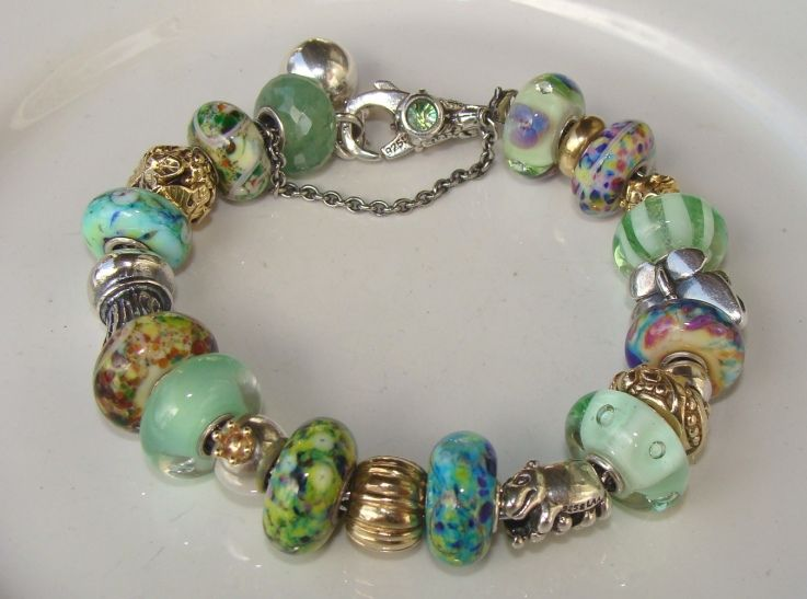Extraordinary Green Gl Trollstones And Gold Beads On This Trollbeads Bracelet By A Member Of Gallery Forum