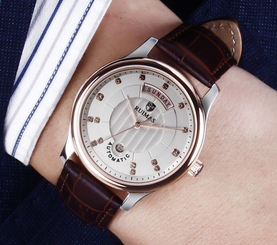 2066a60b978 Top Marke Uhr Männer RUIMAS 2018 Mechanische Uhr Armbanduhren Lederband  Kleid Business Relogio Masculino Uhren Apr1806