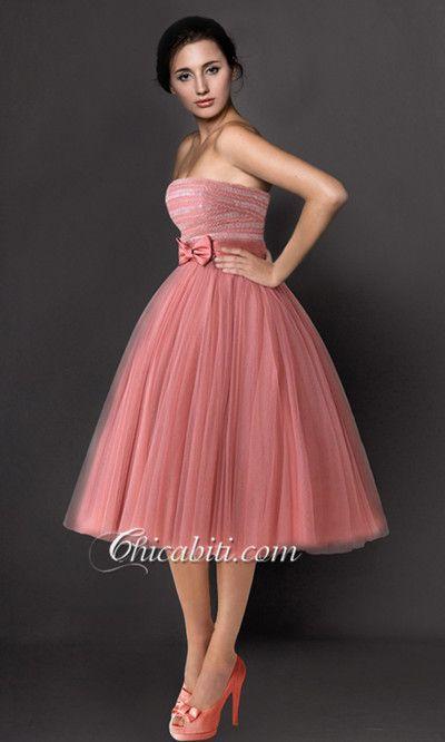 7d0c96fe3d5e Castagna Abito Damigella Fiocco Corto A Palloncino Princess Prom Dresses