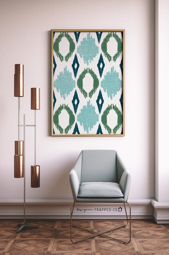 Ikat Style Abstract Wall Art- Turquoise and Green | Abstract wall ...