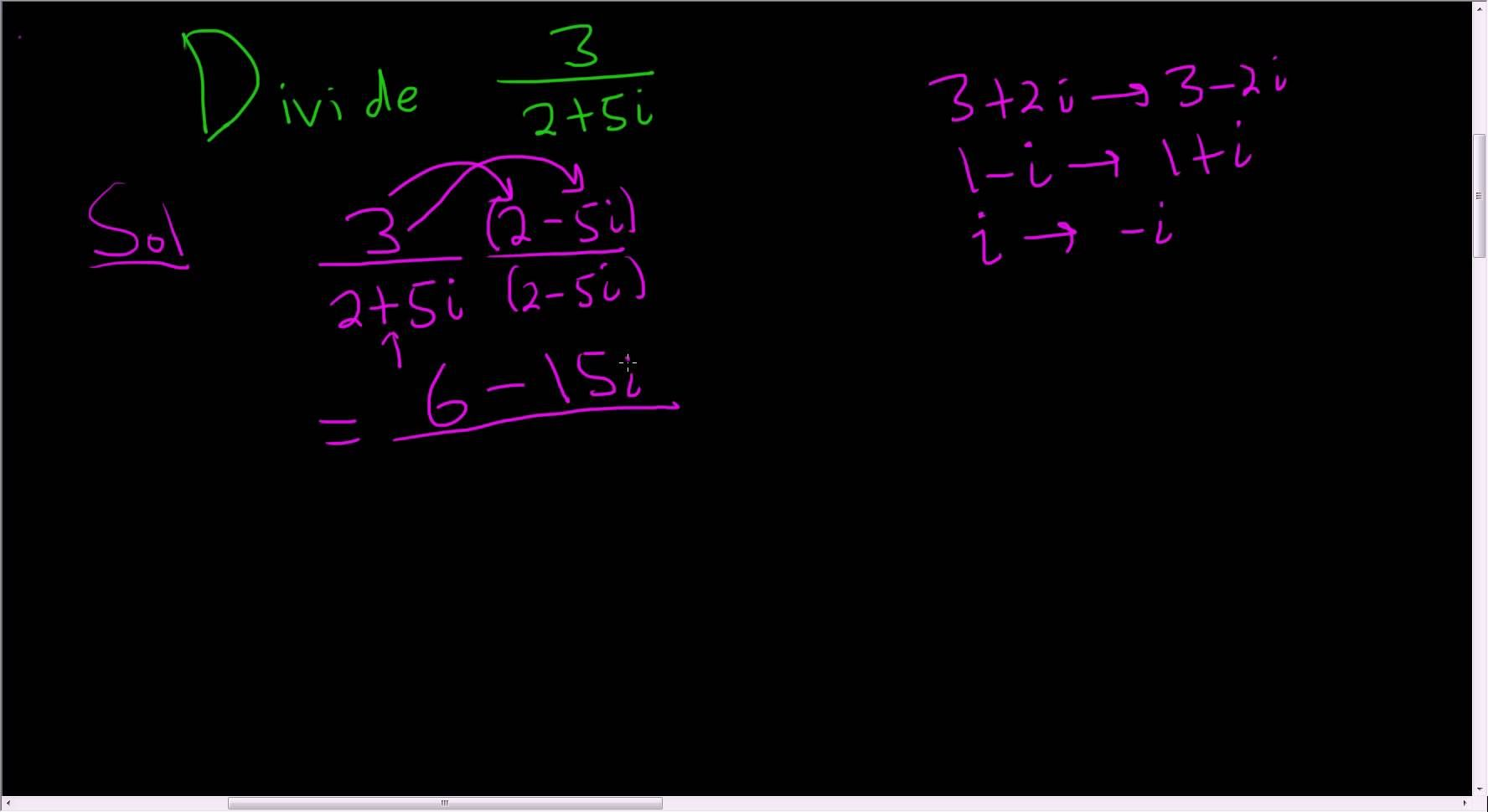 Dividing complex numbers example 1 math videos maths