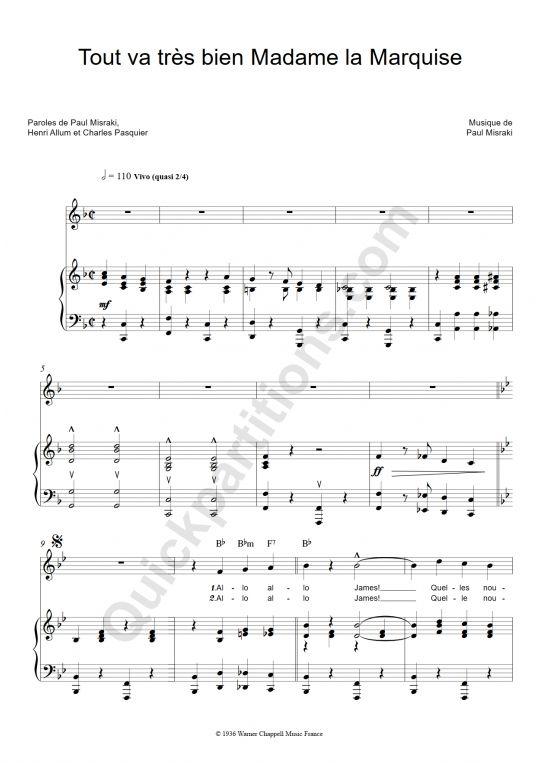 Partition piano tout va tr s bien madame la marquise ray ventura id es loisirs pinterest - Madame tout va bien ...