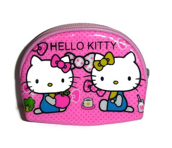 0c06411fd Vintage Pink HELLO KITTY Change Purse Coin Pouch Plastic Wallet KAWAII Bag  Kitties with Bows & Tea 1990s Sanrio Cute Gift for Girls or Adult