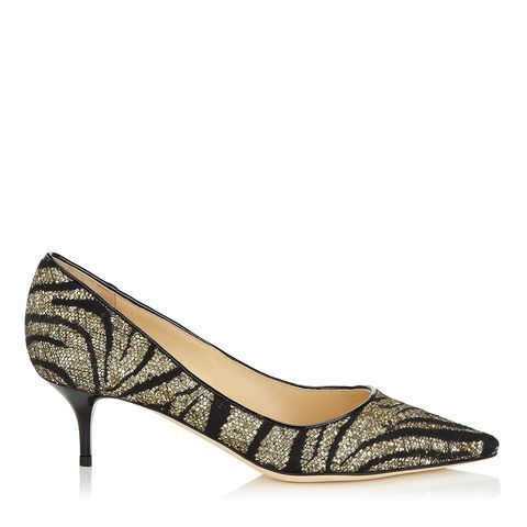 Jimmy Choo Aza Zebra Lace Suede Women Pointy Toe Pumps Geranium