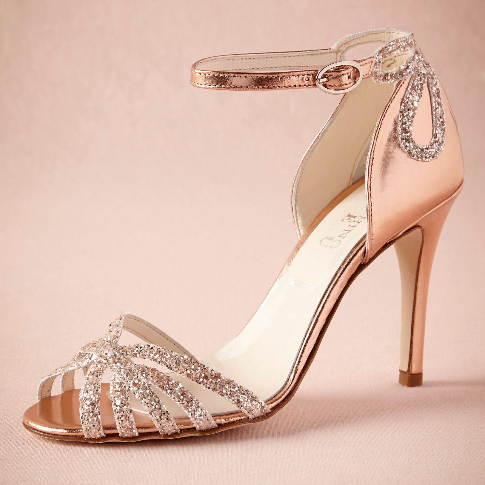 Rose Gold Glittered Heel Wedding Shoes