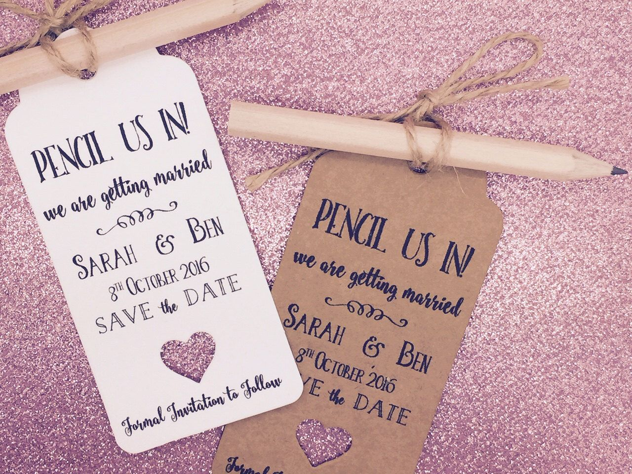 casual evening wedding invitation wording%0A Personalised   Pencil us in   Save The Date   Evening Card   Tags Wedding  Invitation