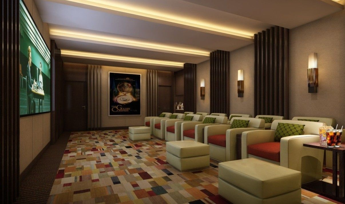 modern and contemporary home theater design marvellous uncategorized fashionable home theater interior design with colorful mosaic floor tiles and