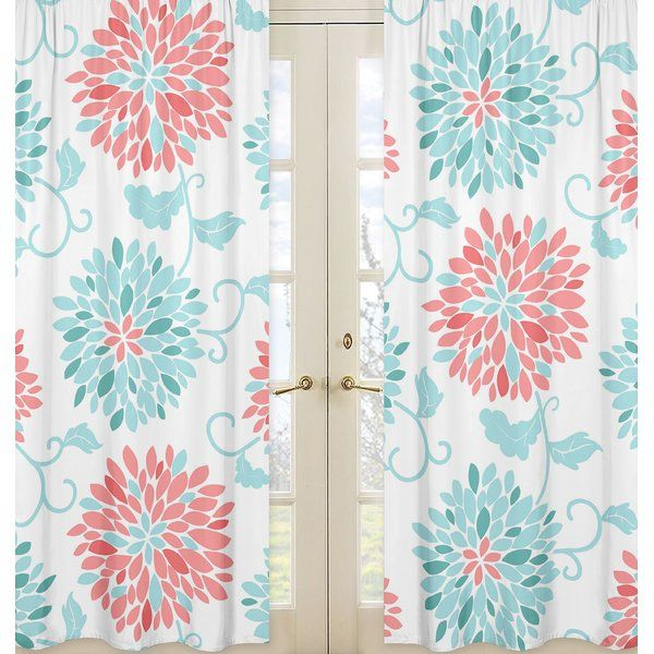 Emma Floral/Flower Semi-Sheer Rod Pocket Curtain Panels