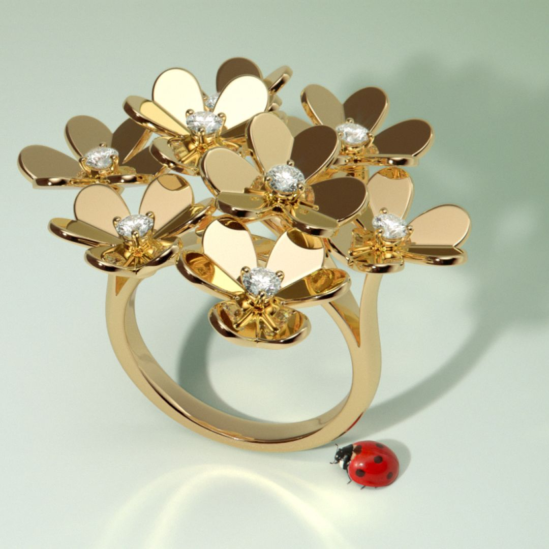 With eight heart-shaped petals, this Frivole ring sparkles with a sun-like glow.