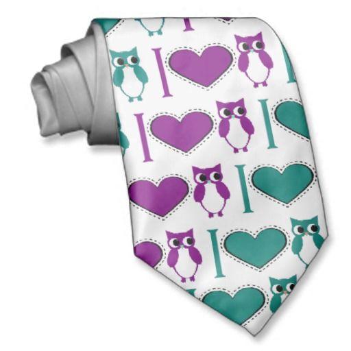 I Love Owls Neck Tie