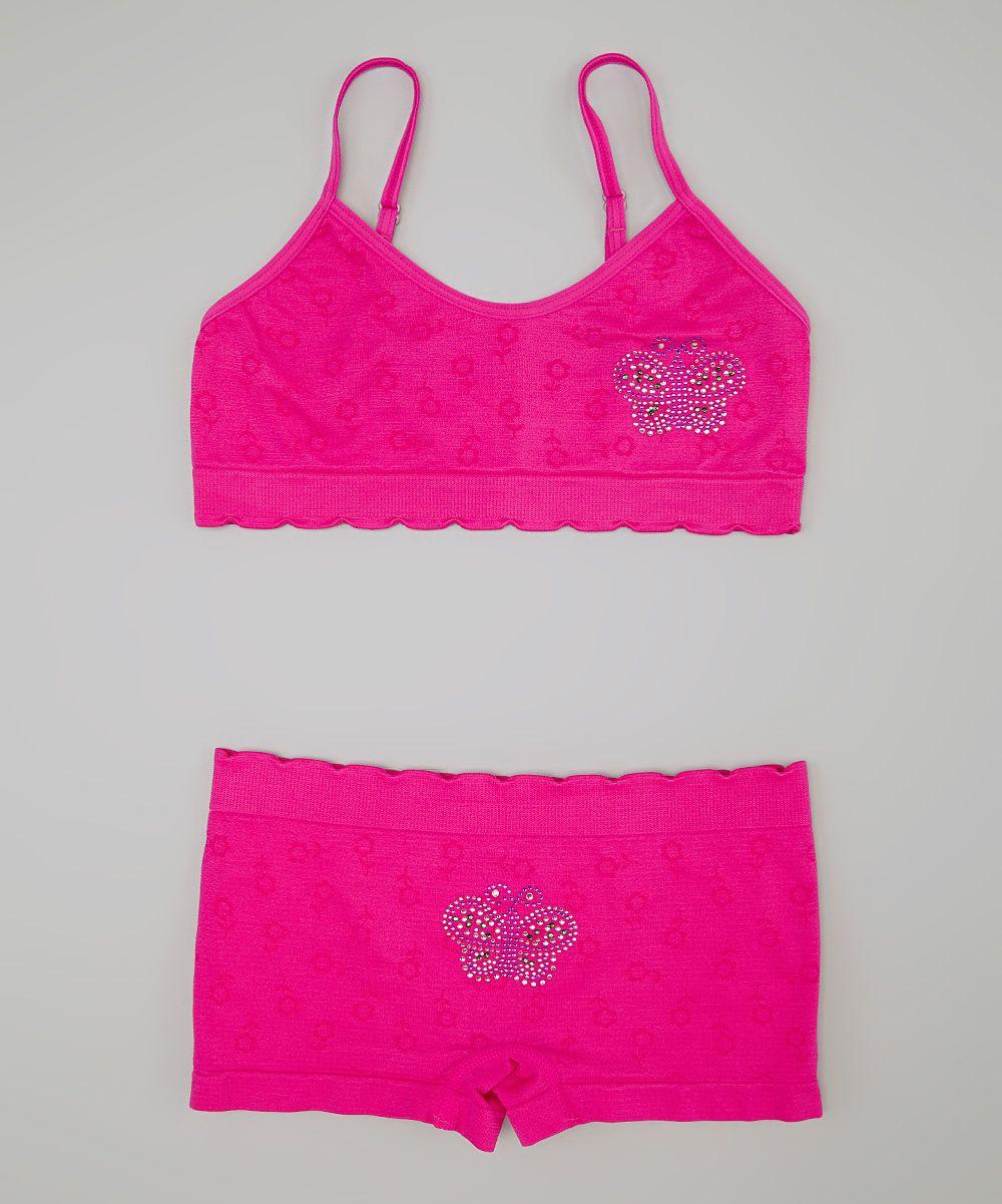 Fuchsia Rhinestone Butterfly Sports Bra & Shorts Girls