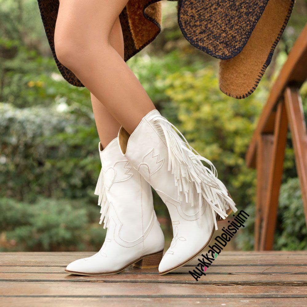 Aleyna Beyaz Puskullu Western Bot Westernboots Cowboyboots Kovboy Cizmesi Bot Bayan Ayakkabi