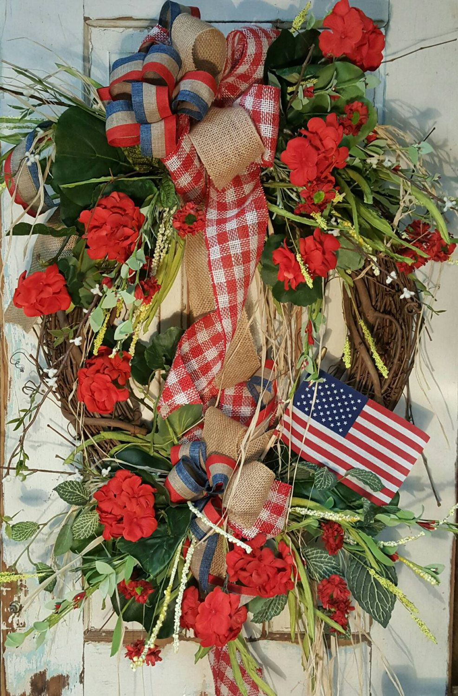 Patriotic decor, Americana Wreath, Patriotic Wreath, Fourth of July Wreath, Spring Summer, American Flag, USA by FarmHouseFloraLs on Etsy