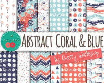 Coral Digital Paper { Abstract Coral Digital Paper } patters, supplies, waves, geometric, polka dots chevron {Commercial Use}