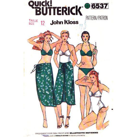 Vintage Pattern Butterick 6537 Bikini Swimsuit & Skirt John Kloss ...