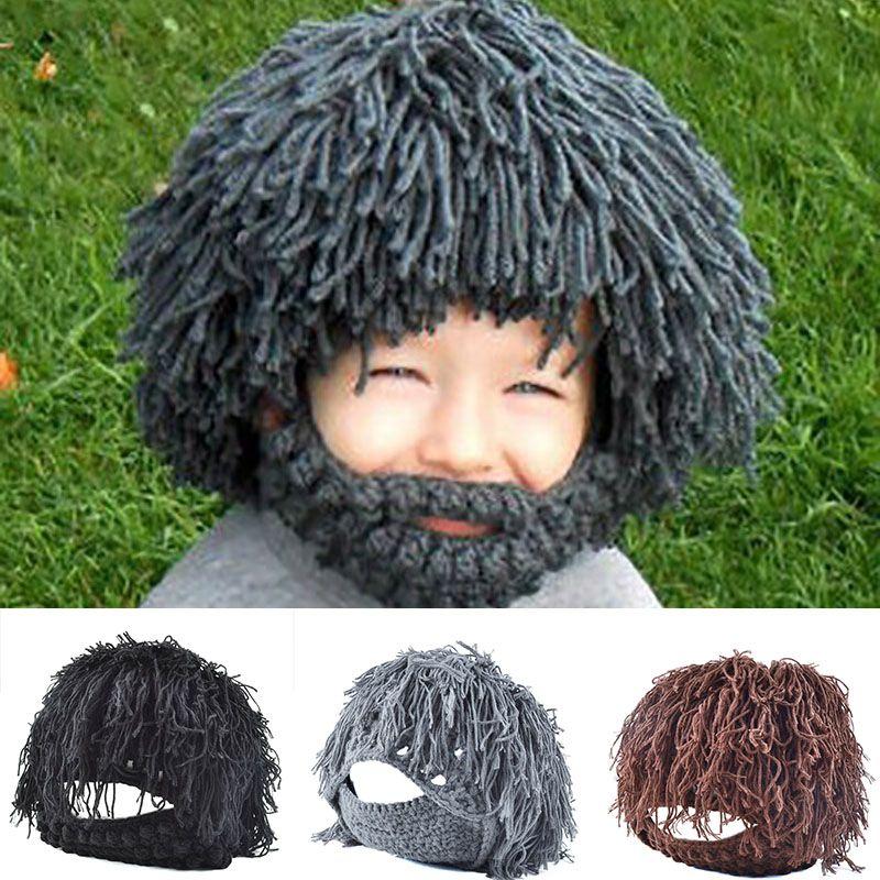 2088c46e41d Men Women Halloween Gift Funny Party Mask Beanie Wig Beard Hats Hobo Mad  Scientist Rasta Caveman