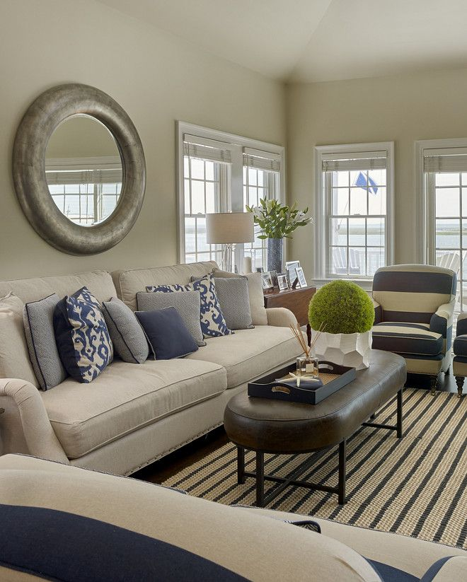 Coastal Living room. Classic coastal living room with navy striped fabric  and rug. #