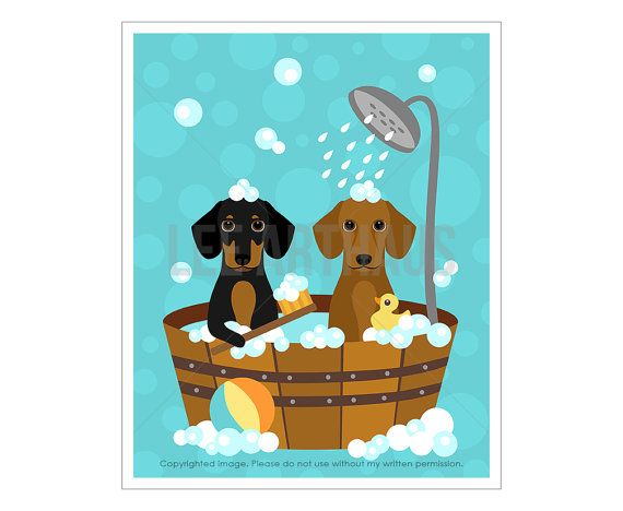 230D Dog Print Dachshund Dogs In Wooden Bathtub By Leearthaus