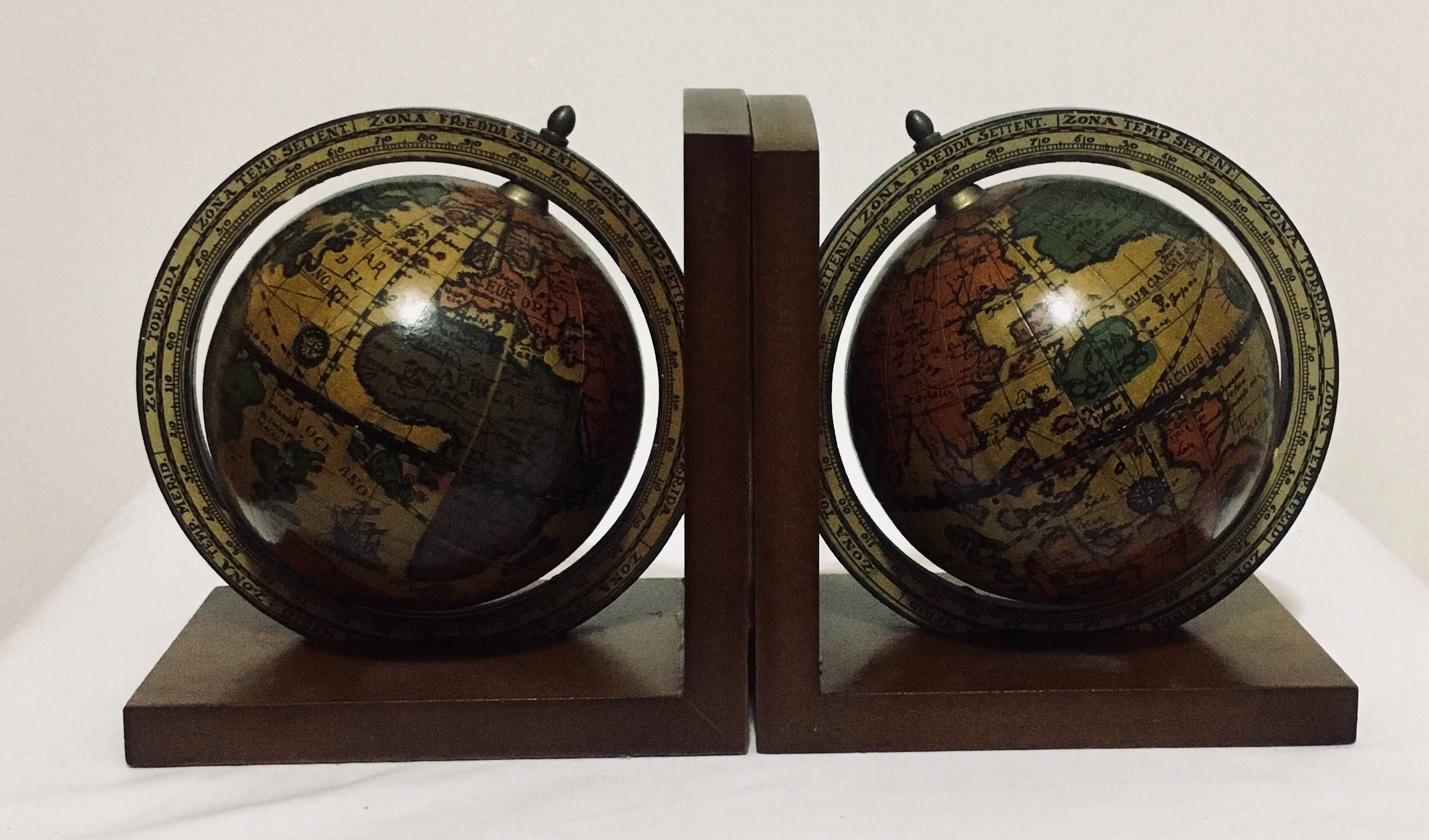 Vintage Old World Italian Globe Bookends, Home Decor, Office Desk Globe