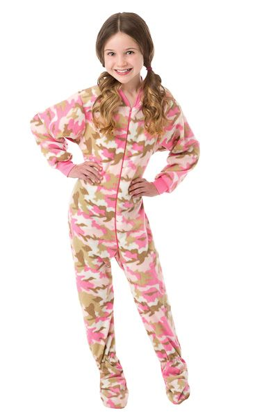 Christmas Footie Pajamas For Kids.Kids Pink Camouflage Fleece Onesie Footie Pajamas For Girls