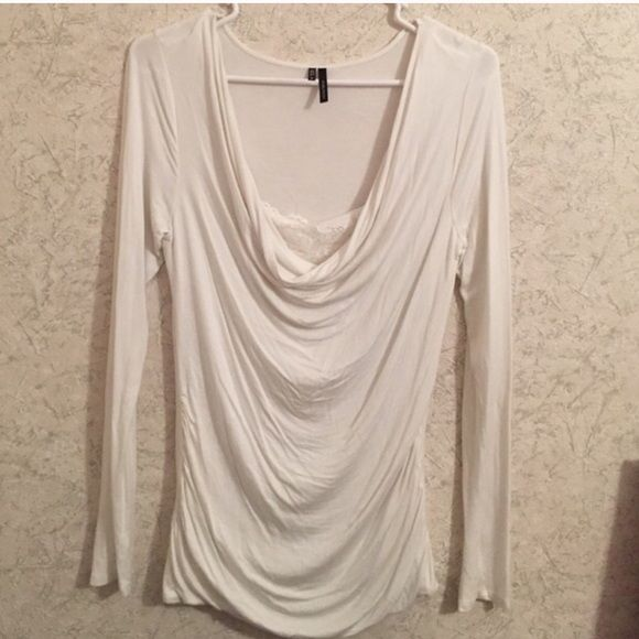 Maurice's White Draped Neck Long Sleeve Top Maurice's White Draped Neck Long Sleeve Top with side ruching detail. - like new Maurices Tops Blouses