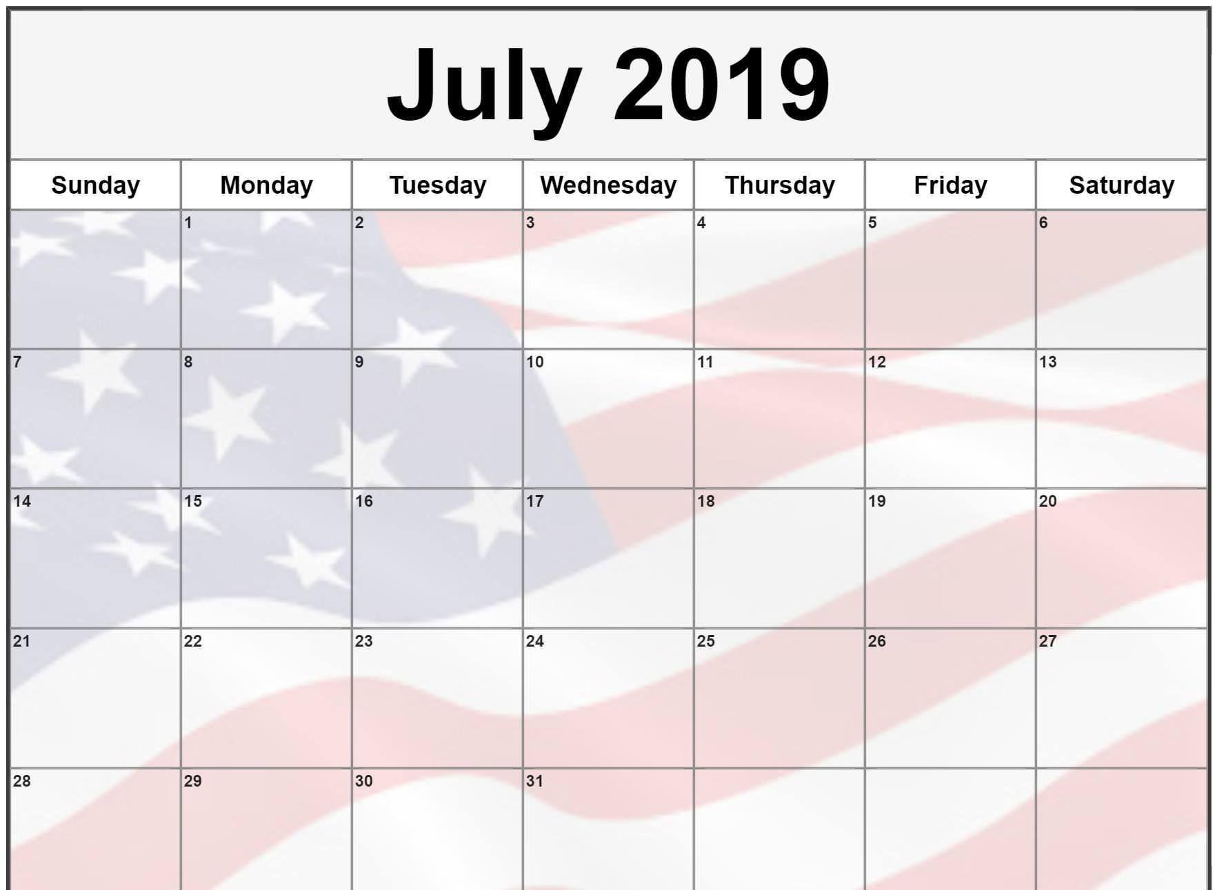 July 2019 Calendar In Pdf Word Excel Printable Template