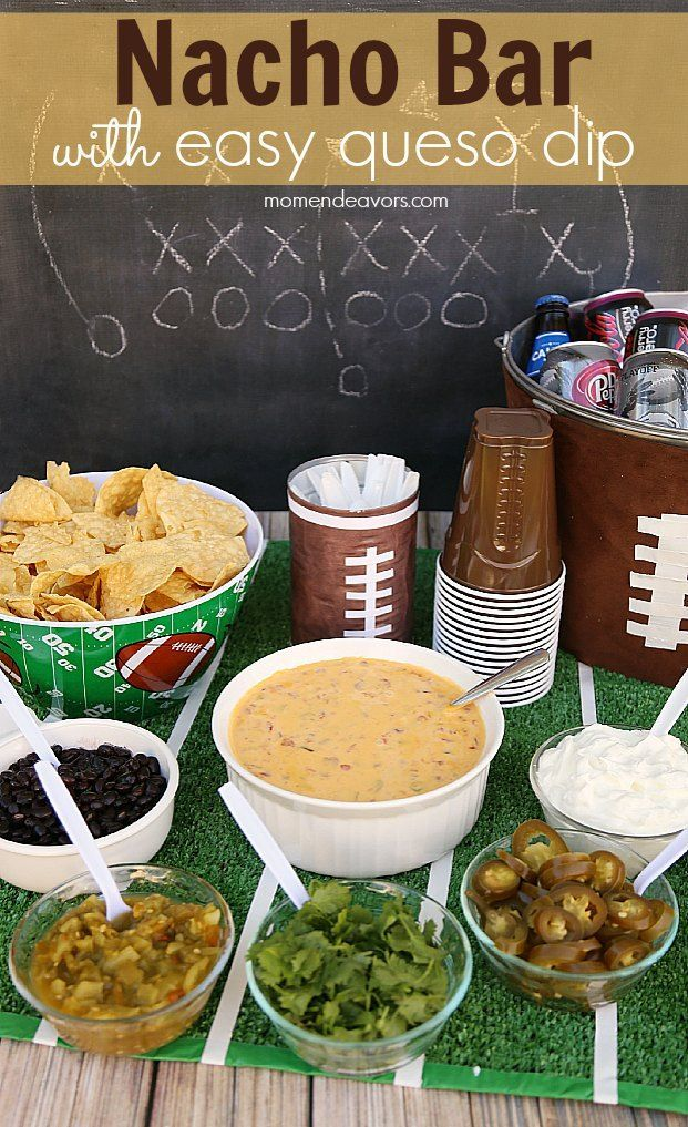 Build Your Own Nacho Bar with easy 2-ingredient queso dip recipe! #QuesoforAll (sponsored) #tailgatefood