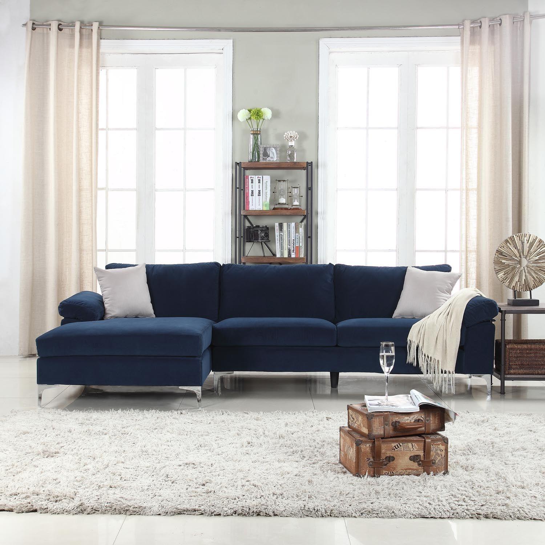 Mobilis Modern Large Microfiber Velvet Fabric L Shape Sectional Sofa With Extra Wide Chaise Lounge Navy Walmart Com Covbuk Romperswomen Tk Blue Couch Living Room Blue Sofa Living Blue Couch Living