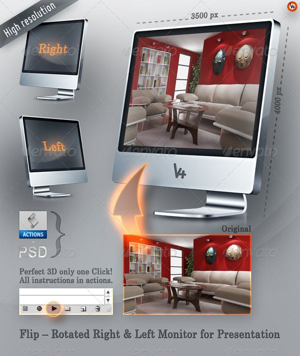 """Flip – Rotated Right & Left Monitor Presentation  #GraphicRiver         A Perfect 3D Solution for Content displaying in an LCD Monitor within only one mouseclick. There is an included PS Actions for the Right and Left side versions. The spectacular impression is done in only 30 seconds. The """"V4"""" label is of course a changable layer/label. Find all the instructions in the actions itself.  Thank you for your time!!      Features:   3500×4000 px resolution  Right & Left actions  Perfect 3D…"""