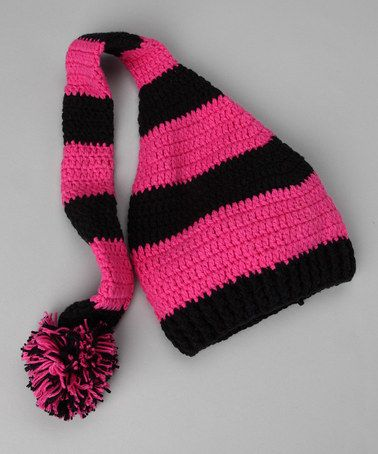 Black & Hot Pink Pom-Pom Stocking Beanie - zulily today!