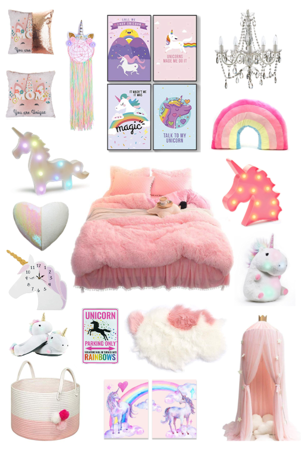 Little Home Childrens Bedroom Pink Unicorn Themed Wall Clock