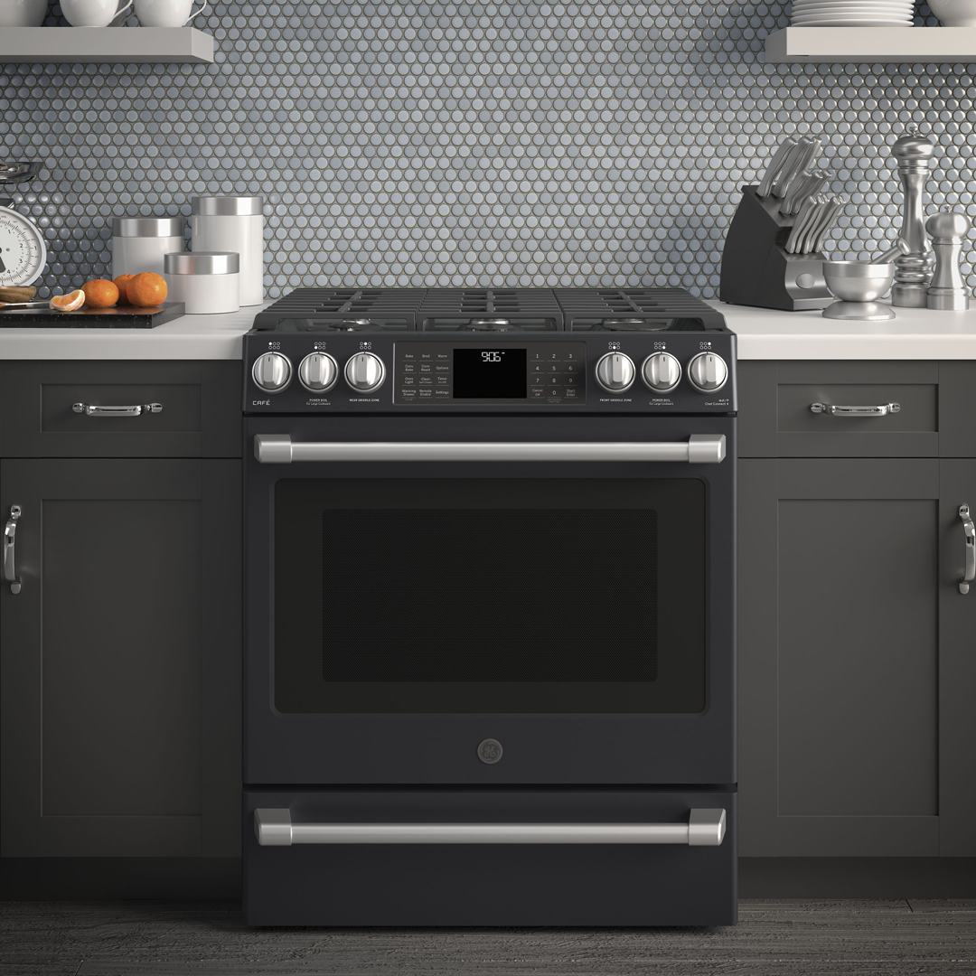 Ge Cafe Series 30 Slide In Front Control Range With Warming Drawer Cgs986eelds Slate Appliances Double Oven Gas Double Oven