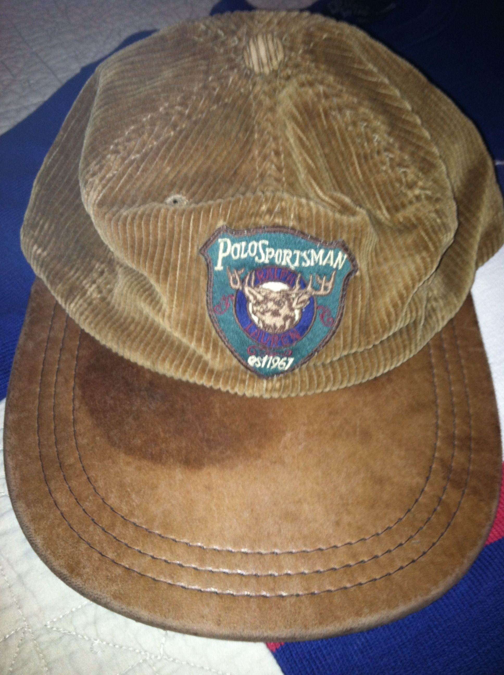 Vintage Polo Sportsman Corduroy Leather Long Bill Fitted