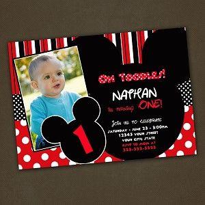 Mickey mouse red and black birthday invitation patricks 2nd bday mickey mouse red and black birthday invitation filmwisefo