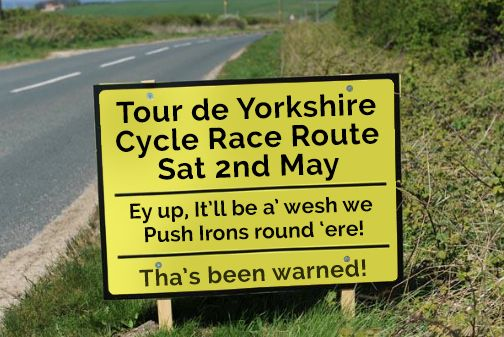Tour De Yorkshire road sign 2015.