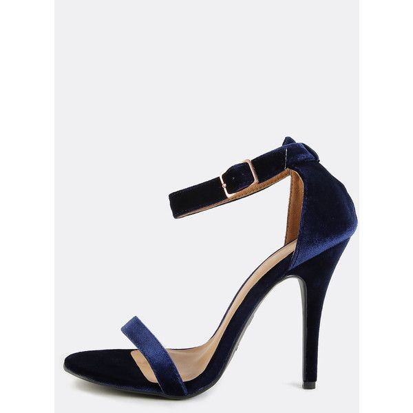 Open Toe Velvet Ankle Strap Heels NAVY ($28) ❤ liked on Polyvore featuring shoes, navy, navy blue high heel shoes, navy shoes, open toe high heel shoes, high heeled footwear and synthetic shoes
