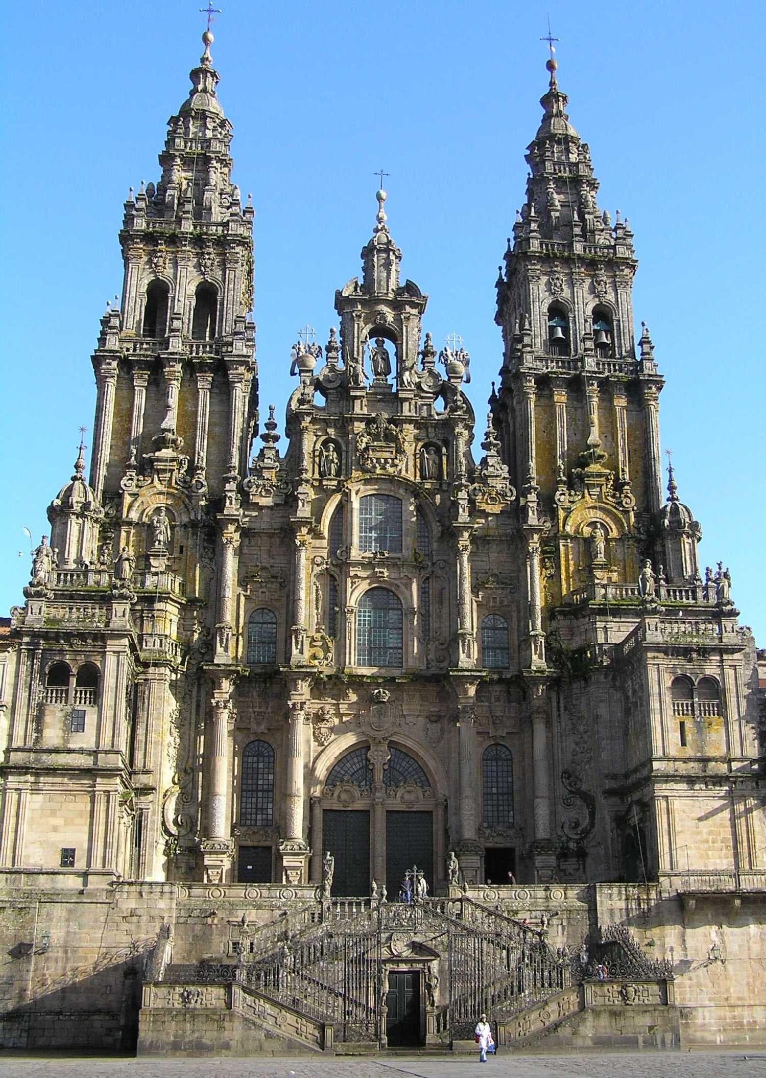 Fachada Oeste Catedral Santiago De Compostela Plaza Del Obradoiro Santiago De Compostela Catedral Catedral Gotica