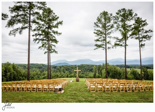 Sam and Hilary, Lynchburg Wedding Session 2014, Sierra Vista, Peaks of Otter, Ceremony, Seats, Cross, Trees
