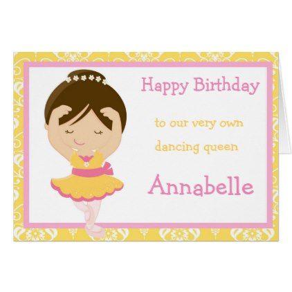 Cute Brunette Ballerina Birthday Card Birthday Cards Invitations