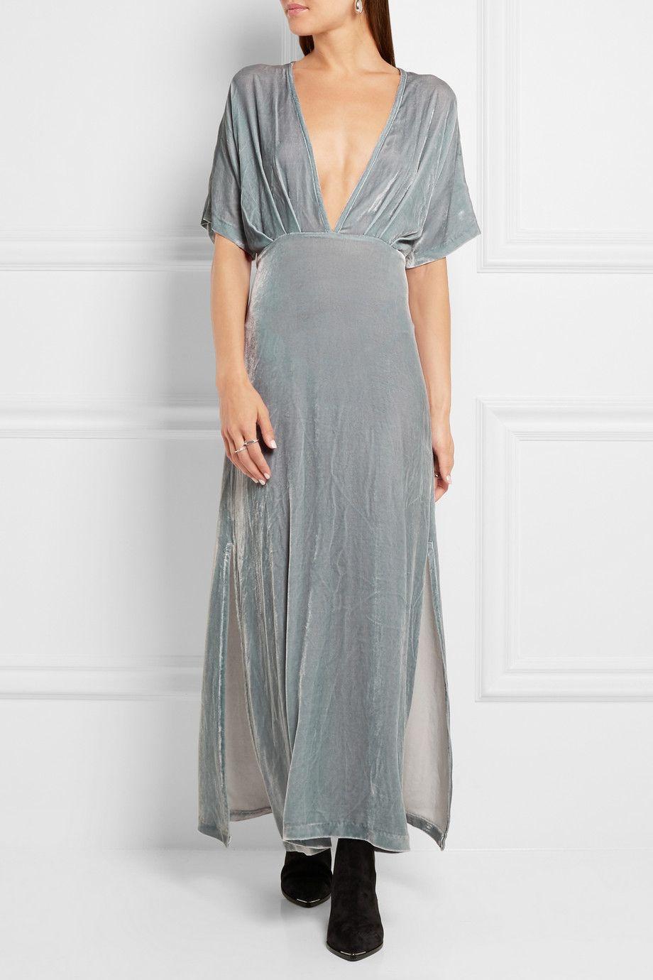 GANNI   Velvet maxi dress   NET-A-PORTER.COM