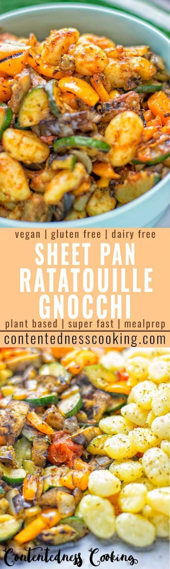 Your favorite recipe source for healthy food [Paleo, Vegan, Gluten free] This Sheet Pan Ratatouille Gnocchi are super easy to make and naturally vegan gluten free. Its made on a sheet pan which is a breeze for dinner lunch meal prep and work lunches. Try it now and the whole family will love it.