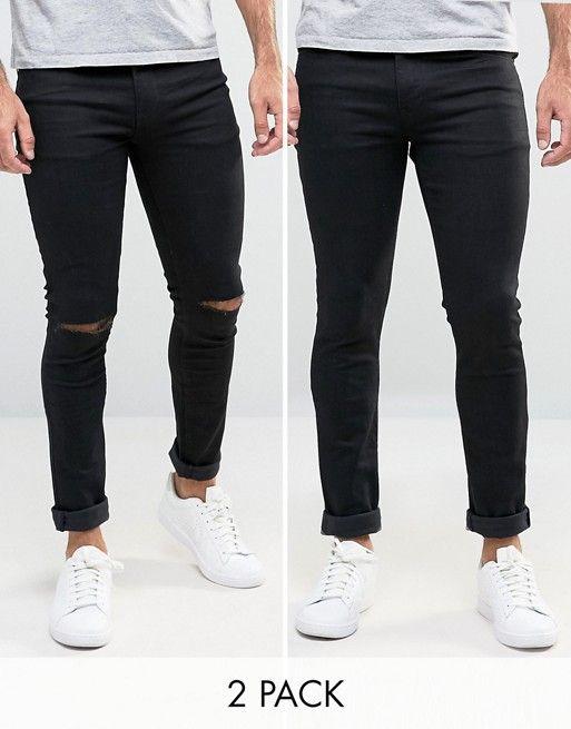 ASOS Super Skinny Jeans 2 Pack In Black & Black With Knee Rips SAVE at asos .com