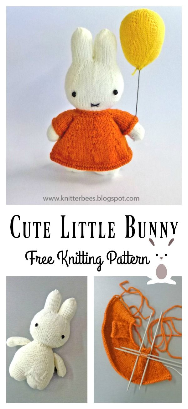 Cute Little Bunny Free Knitting Pattern #knittedtoys